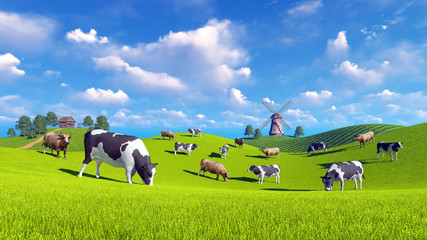 Wall Mural - Farm landscape with cows grazing on a green meadows and with rustic house and windmill in the distance. Realistic 3D illustration was done from my own 3D rendering file.