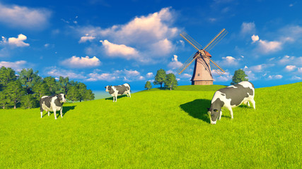 Wall Mural - Springtime rural landscape with grazing mottled dairy cows and windmill in the distance. Realistic 3D illustration was done from my own 3D rendering file.