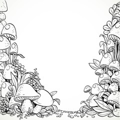 Fairytale decorative graphics mushrooms and flowers in the magic