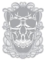 Skull in calligraphic frame