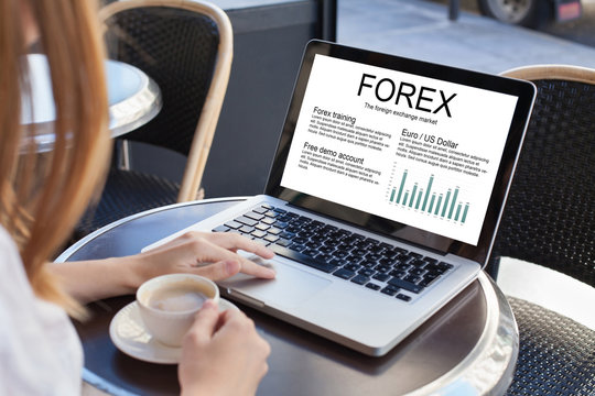 forex concept on the screen of laptop