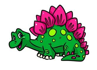 Dinosaur Stegosaurus cartoon illustration isolated image animal character