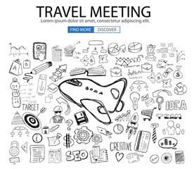 Travel for Business concept  with Doodle design style :finding routes