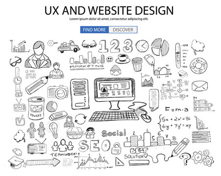 UX Website Design  concept with Doodle design style