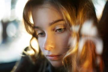 Close up of sad Caucasian girl