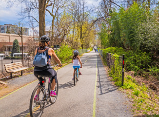 Biking on urban bike path