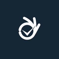Vector isolated unusual logo. Good job. All perfectly. All OK. Well done. Not bad. Ideal load. Fingers hands shows OK. White color design element on dark blue background.