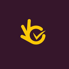 Vector isolated unusual logo. Good job. All perfectly. All OK. Well done. Not bad. Ideal load. Fingers hands shows OK. Yellow color design element on dark purple background.