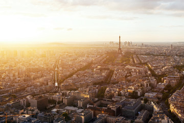 beautiful panoramic aerial view of Paris and Eiffel tower at sunset, France