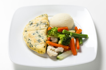 Chive omelette with vegetables