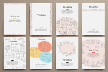 Corporate identity vector templates set with doodles tourism theme