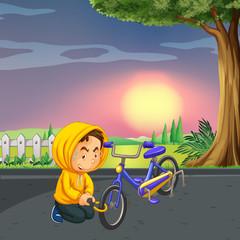Man stealing bike at the park