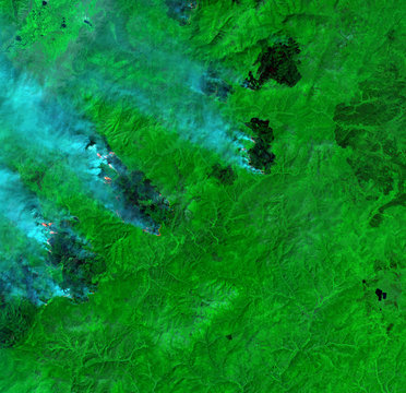 Wildfire from Landsat satellite. Elements of this image furnished by NASA.