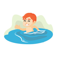 Swimming boy illustration