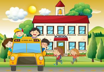 Children on schoolbus to school