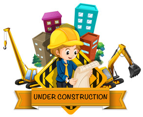 Banner design with engineers and construction  site