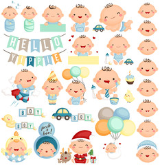 Baby Boy Milestone Vector Set
