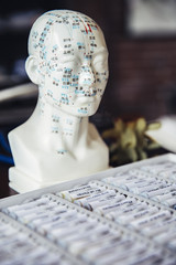 Close up of homeopathic medicine and carved bust with acupuncture diagram