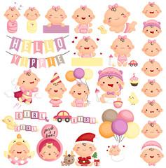 Baby Girl Milestone Vector Set