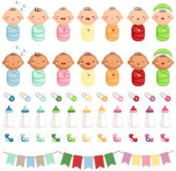 Baby Newborn Vector Set