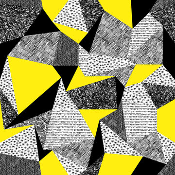 Geometric seamless pattern in retro style. Vintage background.Tr