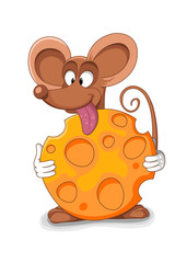 Happy mouse cartoon - vector illustration. Bitten piece of chees