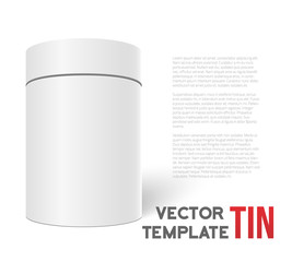 White 3D Vector Tea Box Cylinder Isolated on White Background. T