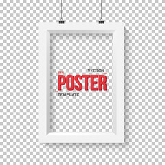 Vector Poster Frame Mockup. Realistic Vector EPS10 Paper Vertica