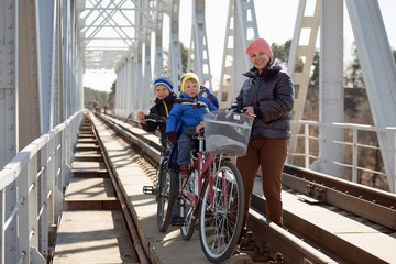 a family  to ride a bike