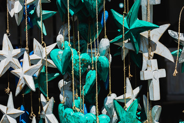 Decorative birds, homes and stars in the store