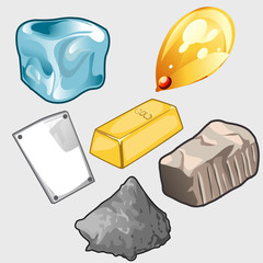 Icons set of gold, ore and other materials