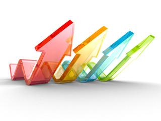 Colorful Wave Arrows Group. Teamwork Concept