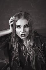 Portrait of Grunge Blonde Woman. Dark Make Up. Leather Black Jac