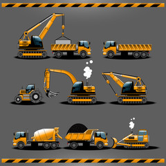 Construction Trucks. Construction Vehicles Types Vector icon set. Car Toy Packaging Design. Construction Transportation Vehicles. Construction Cars. Driving License Categories Book illustration.
