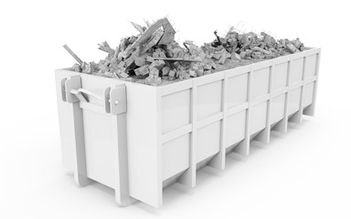 White rubble container perspective front view isolated on white background. 3D Rendering, 3D Illustration.