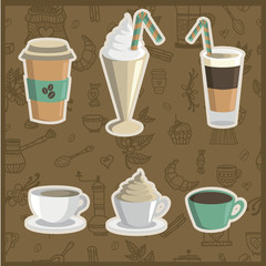 Set of vector illustrations of various coffee drinks