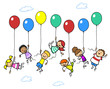 Viele Kinder fliegen mit Luftballons