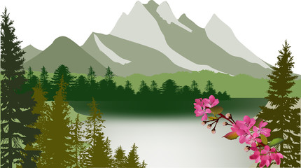 lake and green forest in spring mountains