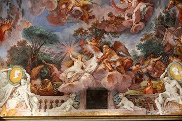 Art painting of ceiling in central hall of Villa Borghese, Rome
