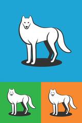 Animal logo. White wolf logo. Wolf vector icon