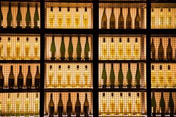 Row of wine bottles exposed