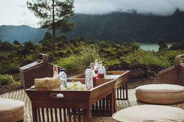Picnic on the nature. Kintamani Lake and Batur volcano, Bali.