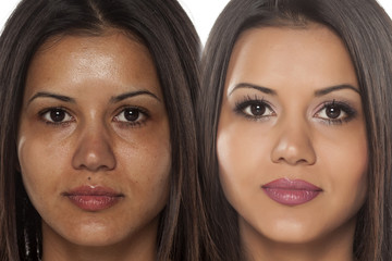 Comparison portrait of a exotic beautiful woman without and with makeup