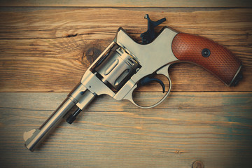 revolver pistol with the hammer cocked