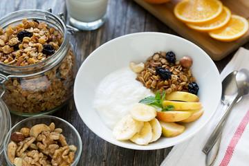 Healthy breakfast bowl with yogurt and granola