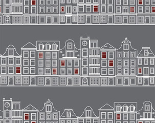Seamless pattern with old historic buildings of Amsterdam. Flat style vector illustration.