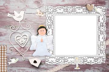First Communion photo frame invitation angel
