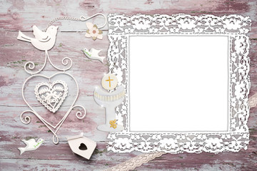 First Communion vintage photo frame card