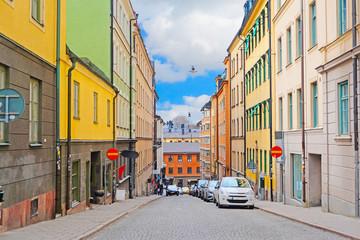 Stockholm, Sweden - March, 16, 2016: cars on a parking in Stockholm, Sweden