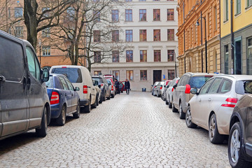 Stockholm, Sweden - March, 16, 2016: cars on a parking in Stockholm, Sweden